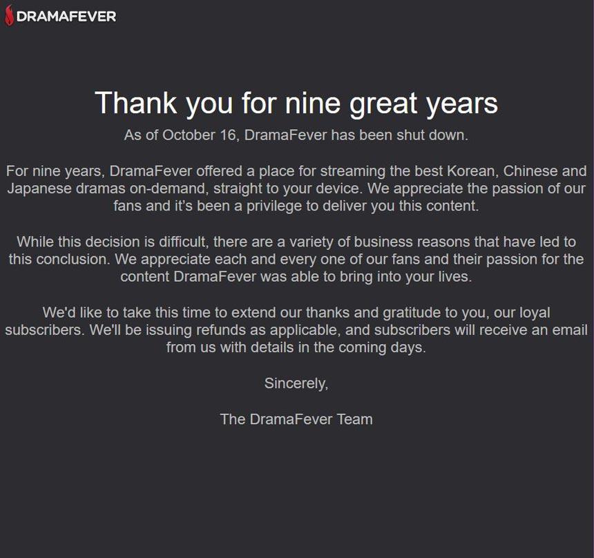 DramaFever closes